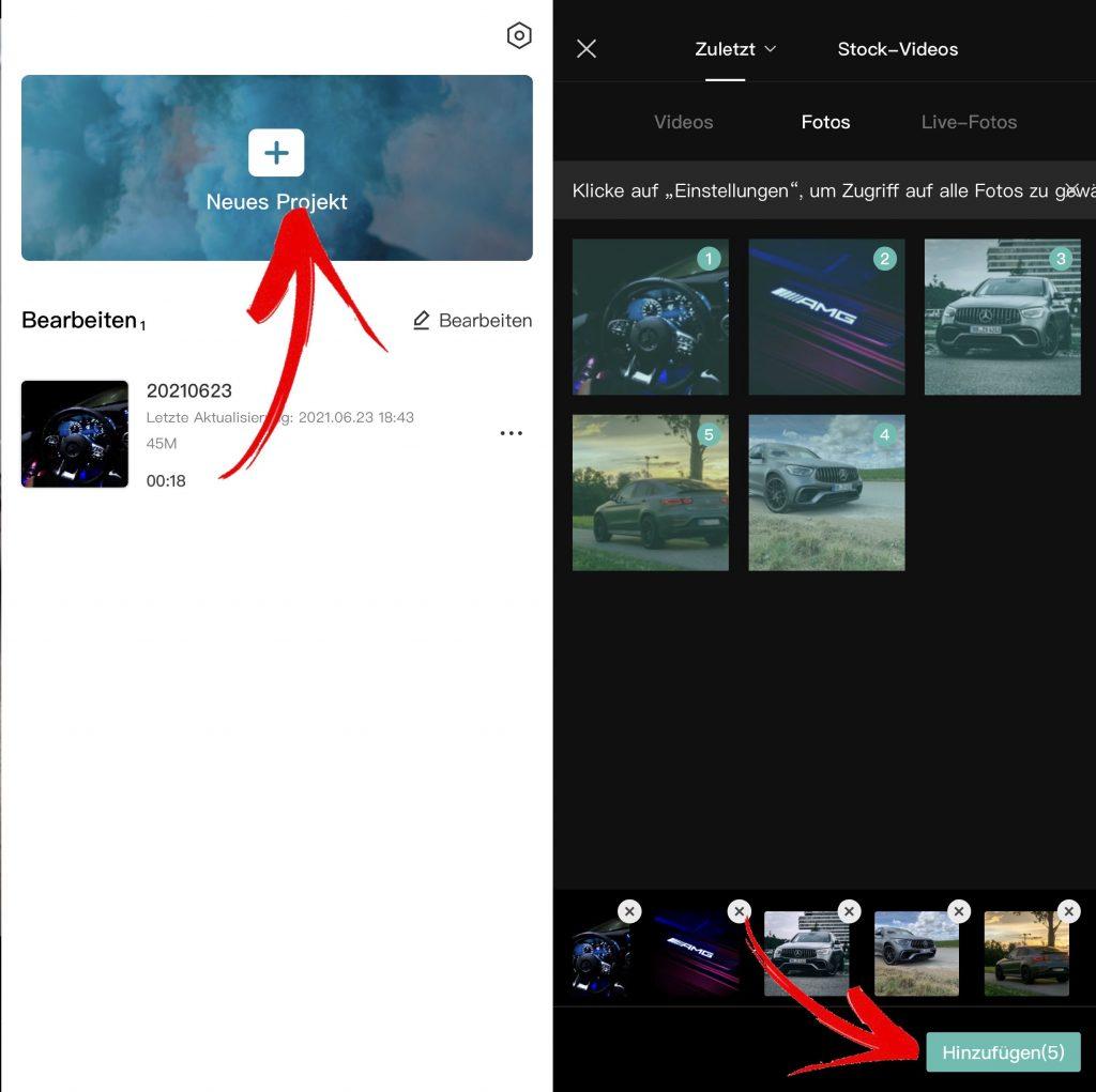 3D Foto Trend Projekt in CapCut anlegen und Fotos hinzufügen