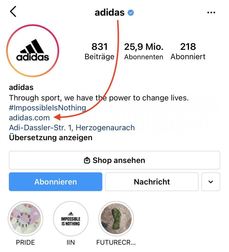 Optimiertes Instagram Profil von Adidas